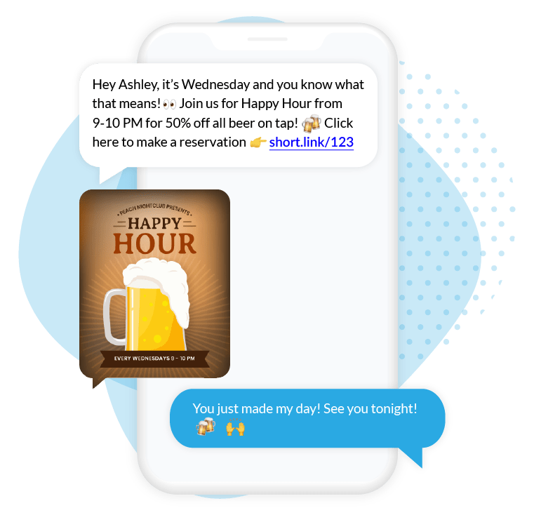 Restaurant Happy Hour SMS Text Campaign