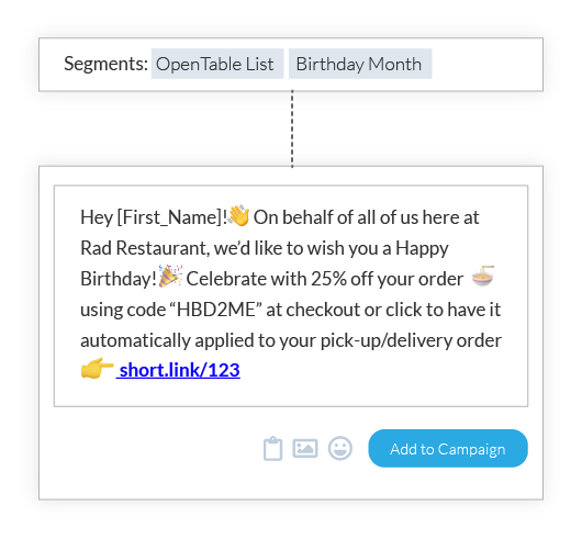 OpenTable Segment Restaurant SMS Campaign