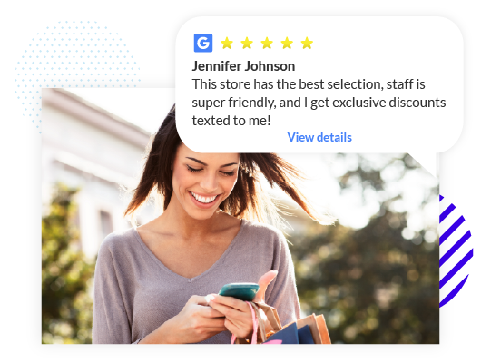 Woman Texting and Shopping Review