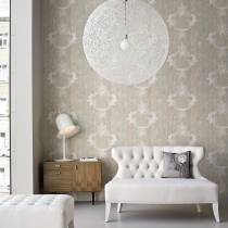 Distressed Wood, Faux Finish, Damask Pattern Home Wallpaper R1368 .