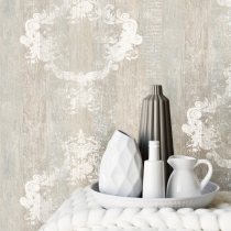 Distressed Wood, Faux Finish, Damask Pattern Home Wallpaper R1368.