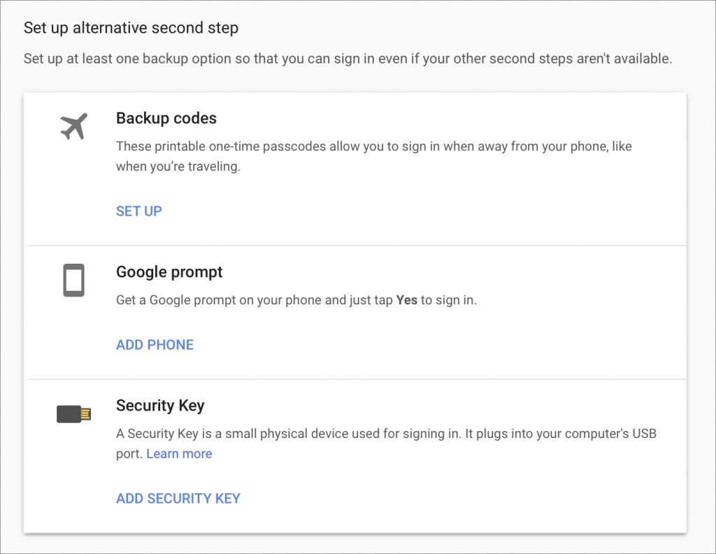 Set up Google Alternative Step