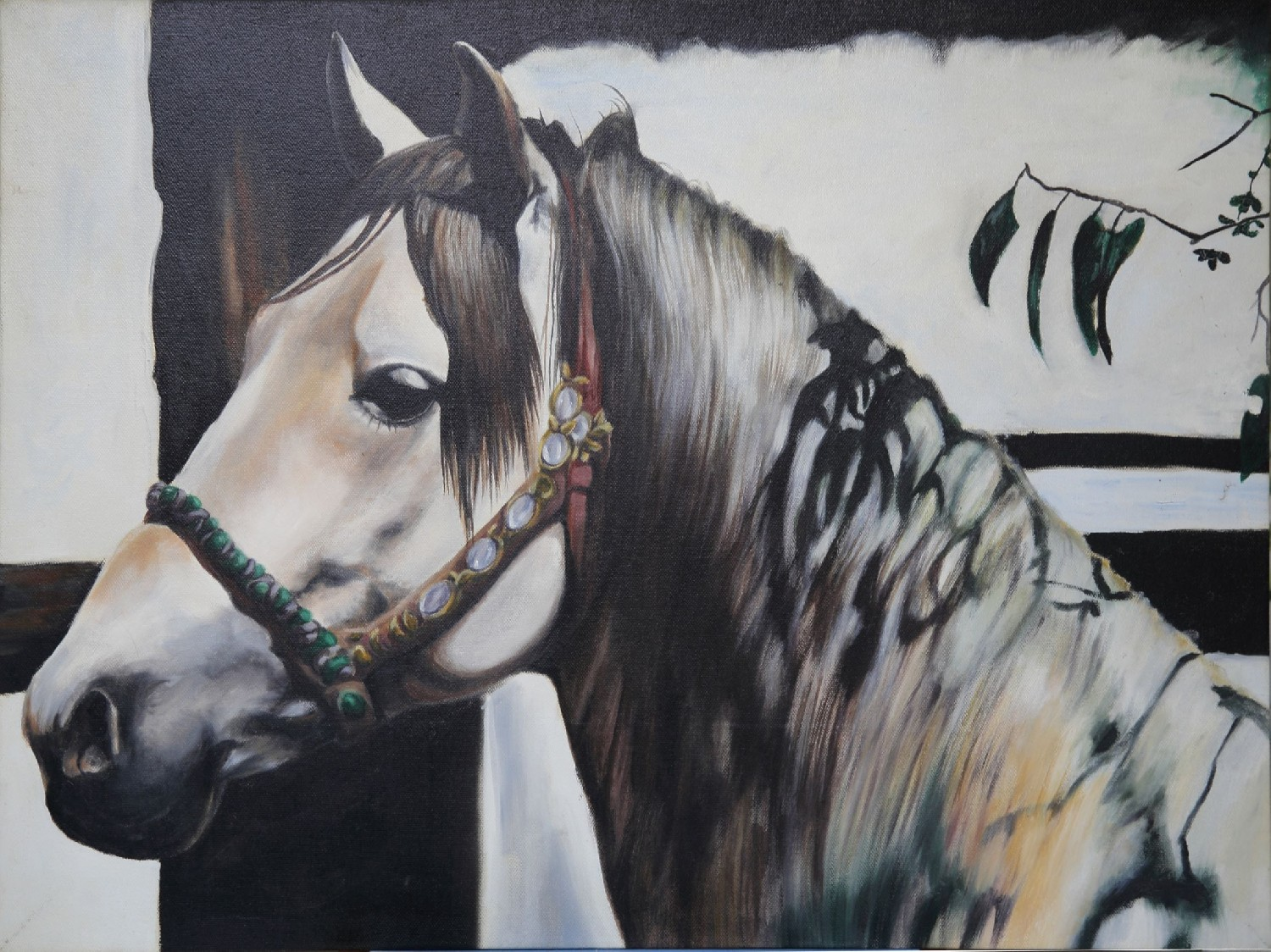 White Horse Oil Painting Natural Realistic Original Painting On Canvas 59 79c